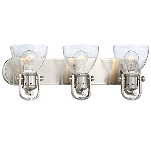 Minka Lavery Minka 3413-84 Contemporary Modern Three Light Bath in Pwt, Nckl, B/S, Slvr.Finish B/S - Minka Lavery Vanity Lighting