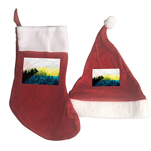 The Bahamas Flag with Forest Santa Hat & Christmas Stocking Holiday Christmas Decorations Party Accessory