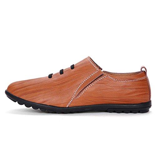 ZXCV Zapatos al aire libre Zapatos planos ocasionales del talón de los zapatos perezosos de los hombres Reddish Brown