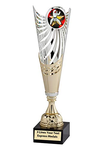 Martial Arts Medal Gold - Express Medals Gold - Silver Martial Arts Karate Metal Trophy Cup Marble Base and Personalized Engraved Plate