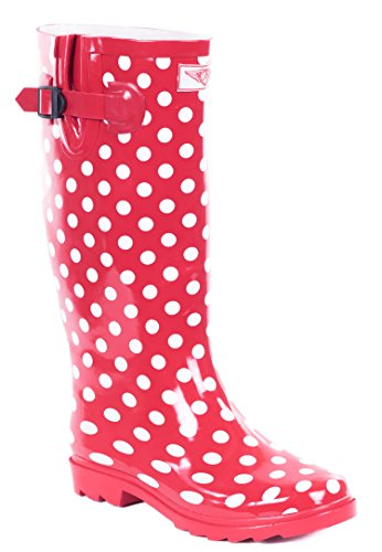 Forever Young Women Full Rubber Rain Boots, Pink Polka Dots, 11