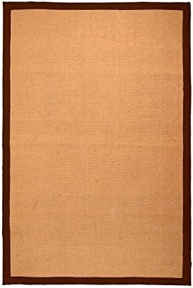 Superior 100 Jute Hand Woven Natural Fiber Area Rug, Classic Border, Rubber Non-Slip Rug Backing, Chocolate, 5 x 8