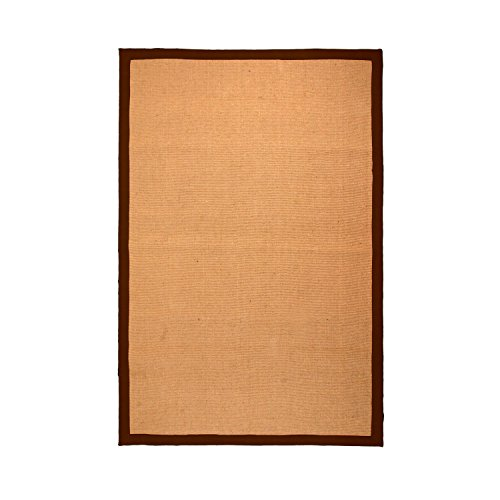 Superior 5' x 8' Blue Jute Area Rug, Natural Fiber Collection Hand-Woven Jute Carpet With a Beautiful Colored Border and Non-slip Rubber Backing, Broad Chocolate Border, 5-feet By 8-feet