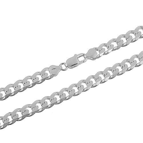 (7mm 925 Sterling Silver Cuban Curb Link Chain Necklace 18)