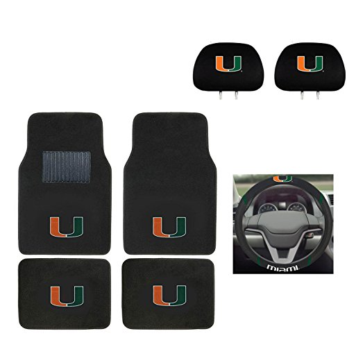 University of Miami Automotive Gift Set.Wow! Logo On Front and Rear Auto Floor Liner. You get 2 Head Rest Cover 4 Floor Mat and 1 Wheel Cover in this gift -