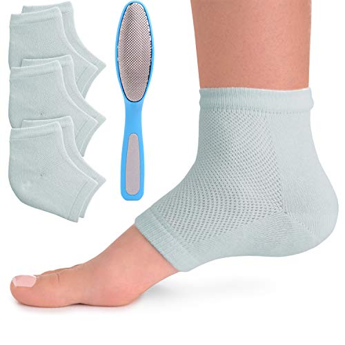 Moisturizing Socks 3 Pairs - Bonus Callus File - Dry Cracked Feet Heel Sleeve Gel Treatment - Softening Hands Foot Repair for Womens Mens Rough Heal Moisturizer Spa I Crack Heels Skin Moisture Gels