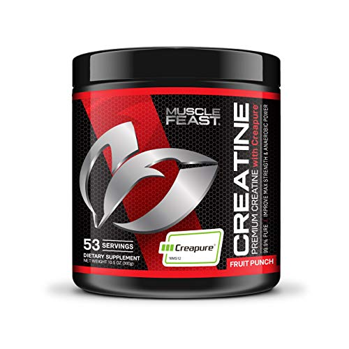 Creapure Creatine Monohydrate Powder by Muscle Feast   Premium Pre-Workout or Post-Workout   Easy to Mix and Gluten-Free (300g, Fruit Punch)