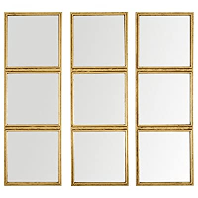 """Rivet 3x3 Tile Mirror Decor, 36 Inch Height, Gold Finish - Small squares fused together to create three mirrored panels. The simple design paired with the striking gold finish makes it perfect for a living room, bedroom, or hallway. 36"""" x 36"""" Modern design with touch of glam - bathroom-mirrors, bathroom-accessories, bathroom - 41CrBYVQrcL. SS400  -"""