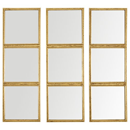 Rivet 3x3 Tile Mirror Decor, 36 Inch Height, Gold Finish