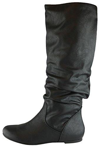 Pu Round High Black Flat Women's Cambridge Slouchy Knee Swirl Boot Select Toe PBYqHw