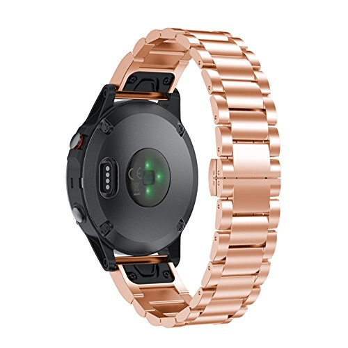 Price comparison product image Alonea Stainless Steel Bracelet Quick Release Band Strap For Garmin Forerunner 935 (Rose Gold)