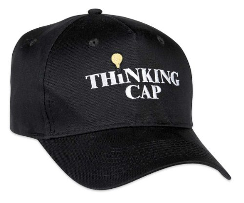ComputerGear Funny Thinking Cap Hat Embroidered Light Bulb Adjustable -