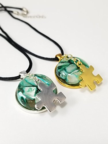 Autism Cabochon Necklace Gold Or Silver Plated Gifts For Her Mom Green Seashell And Resin 18-20 Inch