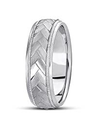 Braided Men's Wedding Ring Diamond Cut Band in Palladium (7 mm)
