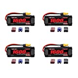Venom 7.2V 1600mAh 6-Cell NiMH Battery with Universal Plug (EC3/Deans/Traxxas/Tamiya) x4 Packs