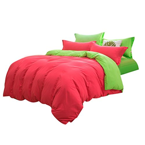 Twin Hugger Comforter Set (Ikevan Home Textiles Bed sets Sheet Breathable and Luxuriously Soft Duvet Cover+ Flat Sheet +Pillowcases (Full Size, Watermelon Red))