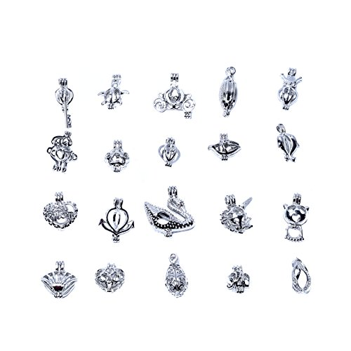 20pcs Mixed Shape Cage Locket Clip Gem Beads Box Pendant Charms Jewelry Findings,Essential Oil Diffuser Locket,Bracelet Charms,DIY Necklace Charms,Add your favorite pearl, precious stones and (40mm Bead Chain Necklace)
