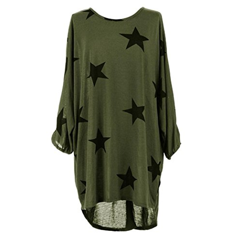 (UOKNICE BLOUSE for Womens, Batwing Sleeve Casual Plus Size Round Neck Stars Print Baggy Tunics T-Shirts Pullovers Tops Style Front Over Orange Kelly Trending Banana Republic Taupe)