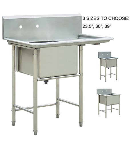bonnlo commercial stainless steel commercial kitchen prep utility sink 39 l x - Stainless Utility Sink