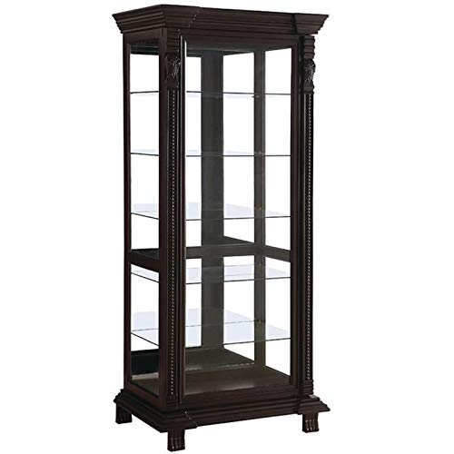 BOWERY HILL 6 Shelf Curio Cabinet in Cappuccino by BOWERY HILL