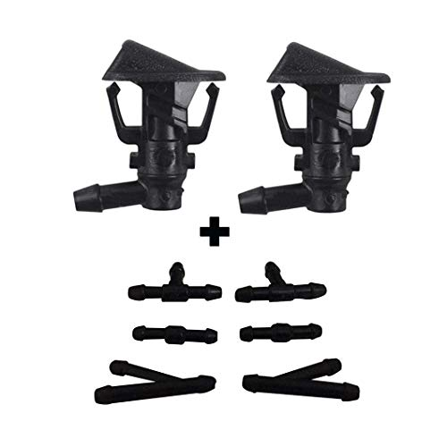 ZHParty 2 Pcs Front Windshield Washer Spray Nozzle with 6 Pcs Connector Kit for JEEP WRANGLER JK 13-18 -Replaces OEM # 68164356AB
