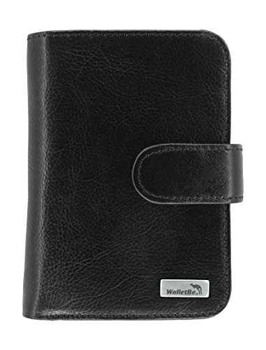 Purse Accordion Wallet (WalletBe Women's Leather Billfold Accordion RFID Wallet with Coin Purse Black)