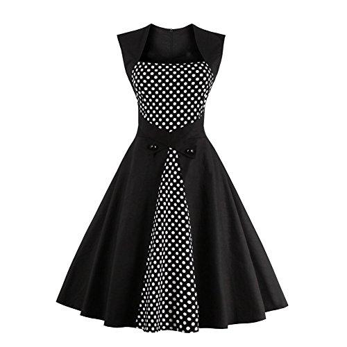 Sunling Women's 1960s Polka Dot Vintage Hepburn Dresses for Cocktail Wedding Party Plus Size Black (60s Dress Halloween)