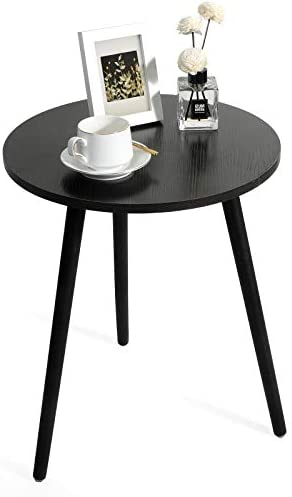 Haton Side Table, Round White Modern Home Decor Coffee Tea End Table for Living Room, Bedroom and Balcony, Easy Assembly (16.5 × 20.5 inches, Walnut)