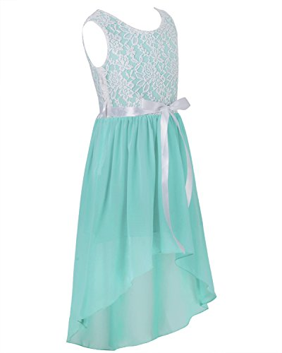 iEFiEL Big Girls Kids Lace Flower High Low Chiffon Dress Wedding Bridesmaid Gown Turquoise -