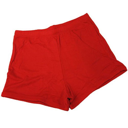 Nylon Cheerleading Briefs - 100 % Stretch Nylon Cheerleading Boy-Cut Brief Trunks, AXL, Red