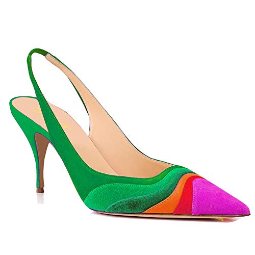 FOWT Women Kitten Heels Slingback Pump Pointed Toe High Heel Pumps Suede Rainbow Ladies Pumps for Dress Party Prom Green 10.5 M US