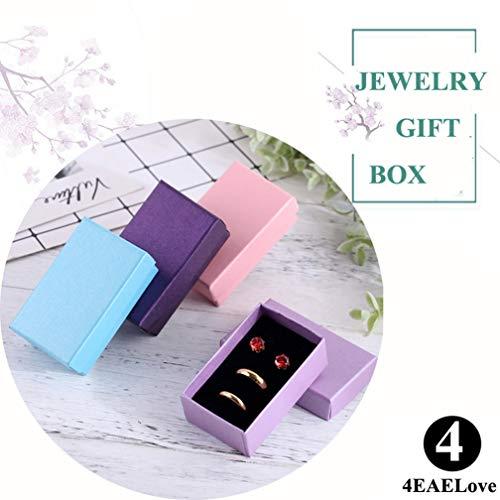 4EAELove - Caja de Regalo de cartón Kraft Joyas, Caja de Papel de Color Rosa Grueso, Relleno de algodón, Paquete de...