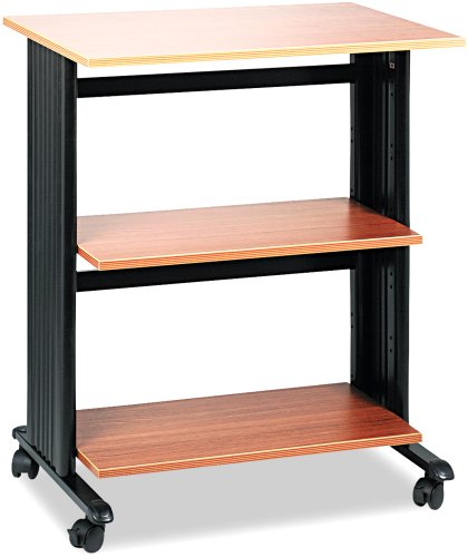 Safco Products 1881MO Muv Three Level Adjustable Shelf Printer Machine Stand, Medium Oak/Black by Safco Products