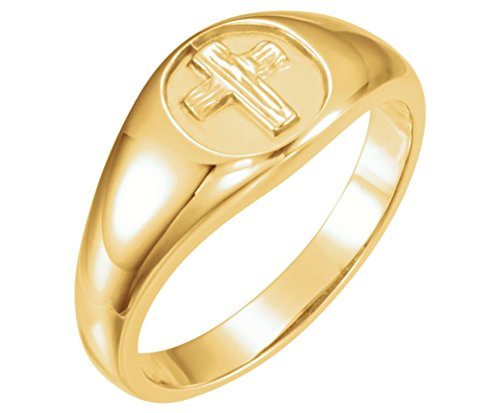 The Rugged Cross Chastity Ring, 10k Yellow Gold, Size 8 by The Men's Jewelry Store