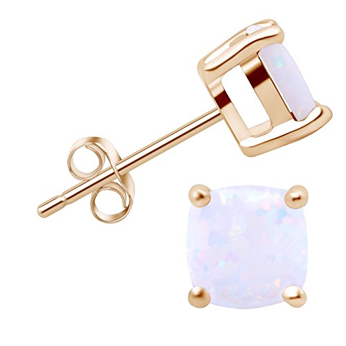 SilkRoad Yellow 18K Gold-plated 925 Sterling Silver White Opal Stud Earrings Cusion Stone Gift for Women Daughter Graduation (18ct Yellow Gold Opal Earrings)
