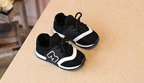 Babyschuhe Sommerschuhe Mädchen Hausschuhe Hirolan Sportschuhe Kleinkind Turnschuhe Kinder Sport Laufen Baby Schuhe Jungen Brief Mesh Schuhe Krabbelschuhe Schwarz