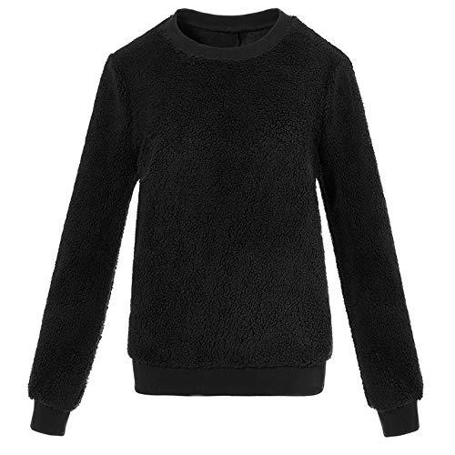 Clearance Plush Sweatshirt, Duseedik Women Plush Sweater Imitation Lambskin Round Neck Long Sleeve Blouse