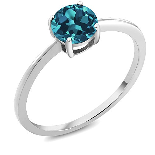 10K White Gold 0.75 Ct Round London Blue Topaz Women's Solitaire Ring (Available in size 5, 6, 7, 8, 9) - Blue Topaz December Gold Ring