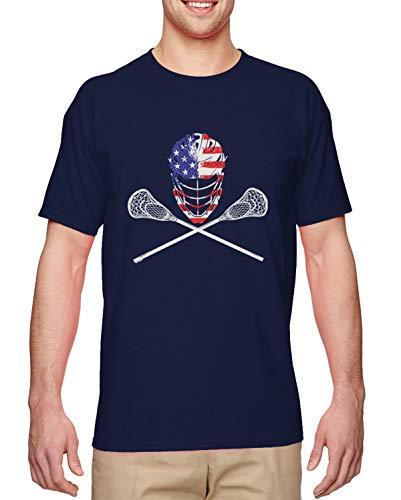 USA Crossed Lacrosse Sticks & Helmet - Lax Bro Men's T-Shirt (Navy, Large) (Lacrosse Stick And Eyewear)