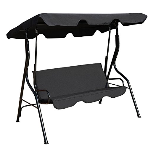 Best Patio Swing Chair For 3 Person With Canopy And Cushions Great Set For Patio, Garden, Outdoor, Porch And Poolside. (Black)