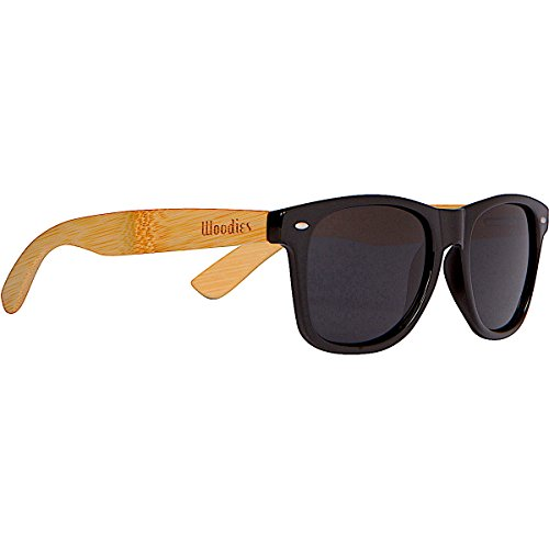 WOODIES Bamboo Wood Sunglasses with Black Plastic Frames and Polarized Lens by Woodies