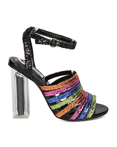 Mix Women Media Heel Strappy Square Block Heel HK13 Heel Sandal Black Rainbow Glitter Lucite CAPE ROBBIN Chunky by gqaf5f