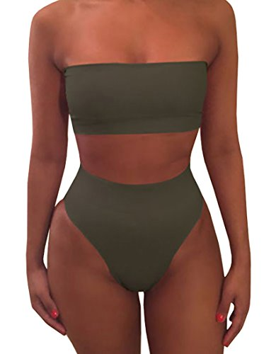 Misassy Womens Sexy High Waisted Bikini 2 Piece Bandeau Swimsuit Top Cheeky Bottoms - Suits Bathing Women Piece Two For