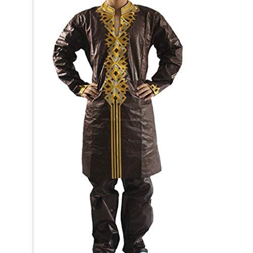 H D African Attire Costume Bazin Riche Men Clothes Top Shirt and Pants Sets Plus Size 5XL Brown