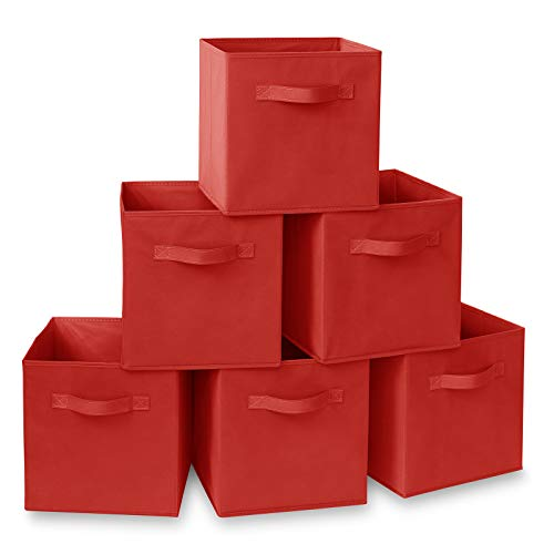 Casafield Set of 6 Collapsible Fabric Cube Storage Bins, Red - 11