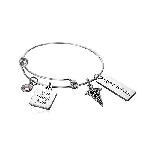 FLODANCER Medical Alert ID Bangle Bracelet Caduceus Live Laugh Love Cuff Bangle Bracelets Silver Stainless Steel Adjustable Jewelry for Women,Girls. (Free Engraving)
