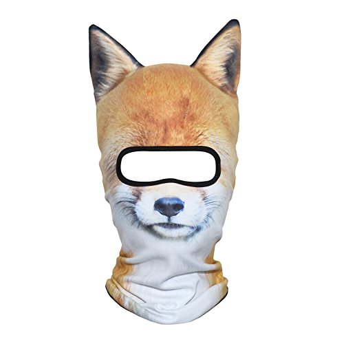 AXBXCX 3D Animal Ears Fleece Thermal Neck Warmer Windproof Hood Cover Face Mask Protection for Ski Snowboard Snowmobile Halloween Winter Cold Weather Fox MDD-08