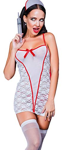 PIPPEROO Sexy Nurse Uniform Slutty Nurse Costume with Stockings Adult Cosplay Outfit Babydoll Lingerie for Women Halloween Nurse Dress X-Large Size Playful Temptation -