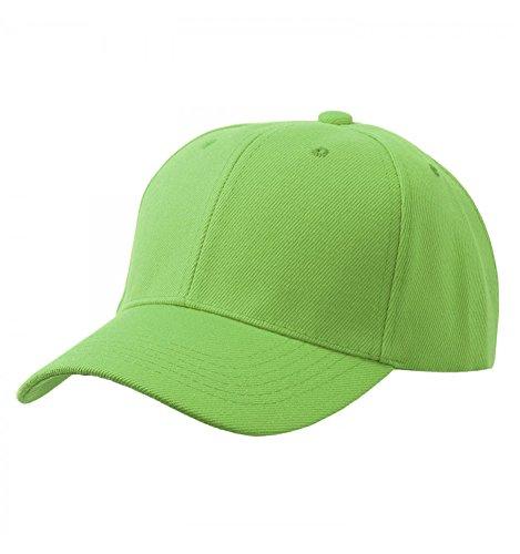 Men's Plain Baseball Cap Velcro Adjustable Curved Visor Hat (Lime Green Hat)
