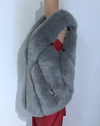 Corti Donna Parka Chiaro Di Grigio Giubbotto Maniche Pelliccia Giacchetto Falso Giacca Invernale Fur Senza Faux Gilet Cappotto USxSpH